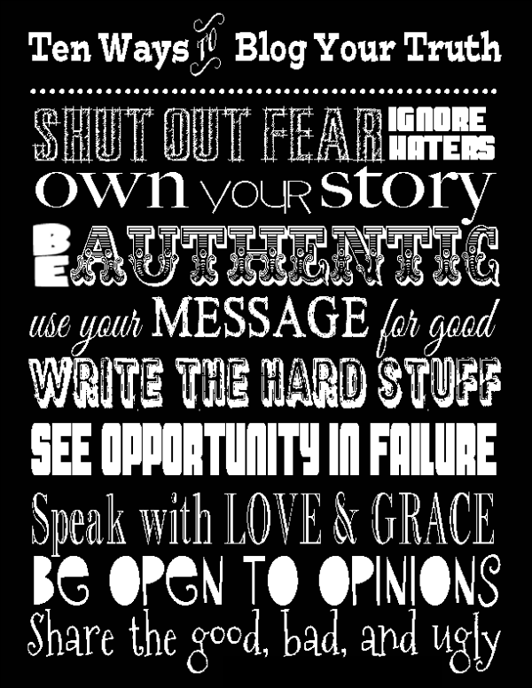 Blogging Your Truth: A FREE Printable!   The Bickford Five
